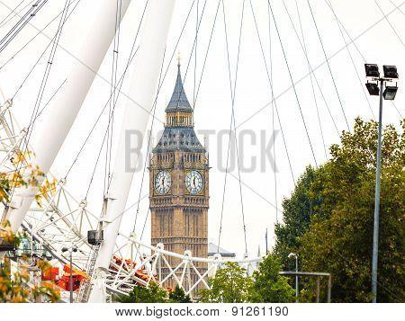 Big Ben Through The London Eye England Uk