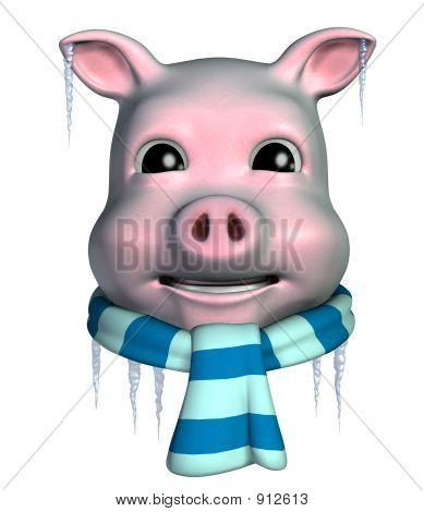 Piggy Emoticon - Freezing