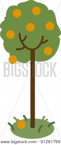 Vector Illustration Of An Orange Tree.