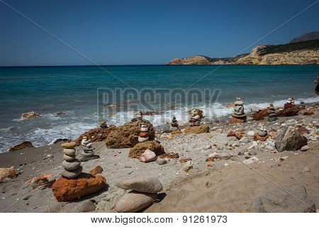 Brightly Colored Stones At Firiplaka Beach, Milos, Greece