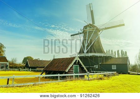 Summer Landscape With Traditional Dutch Windmill