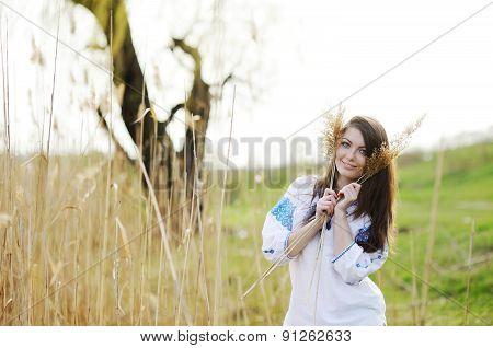 Slavic Girl In Ukrainian Shirt Holding Ears Of Corn