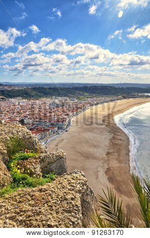 Portuguese destination, Nazare, view of the city and the beach from Sitio