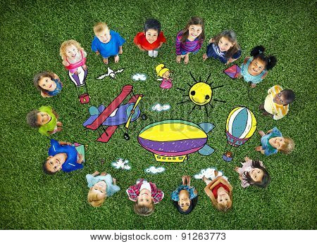 Drawing Artistic Childhood Kids Playful Concept