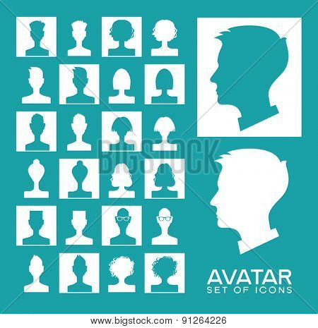 Set avatars people. Modern flat design icons. Background with icons of people.