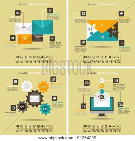 E-mail infographics. Marketing e-mail. Four abstract pattern with 