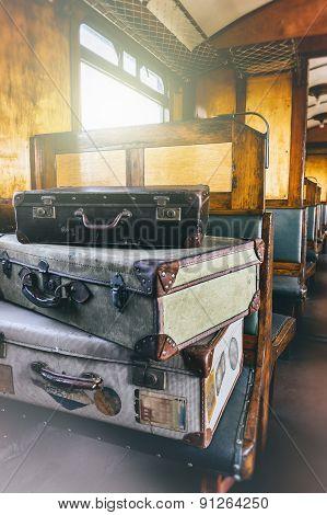 Retro Travel Cases In Last Century Train Coach