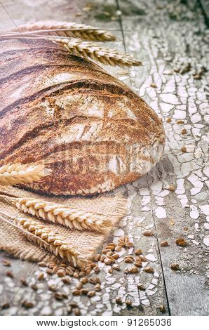 Freshly Baked Bread Loaf In Rustic Setting