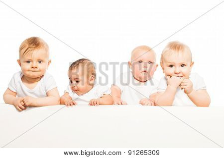 Four babies stand in a row on the white background
