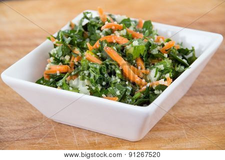 tabbouleh parsley and carrot salad bowl