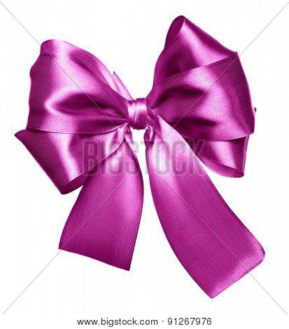 pink bow made from silk isolated