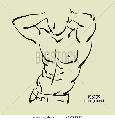 art sketched portrait of young sexy muscular powerful man in pose