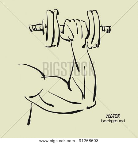 art sketch of young sexy powerful muscular man with dumbbells