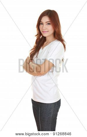 Woman With Arms Crossed, Wearing White T-shirt