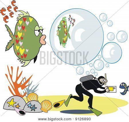Fish with bubbles cartoon