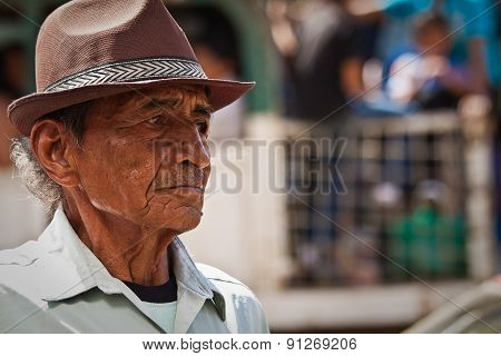 Portrait of nostalgic old man from a coastal town in Ecuador