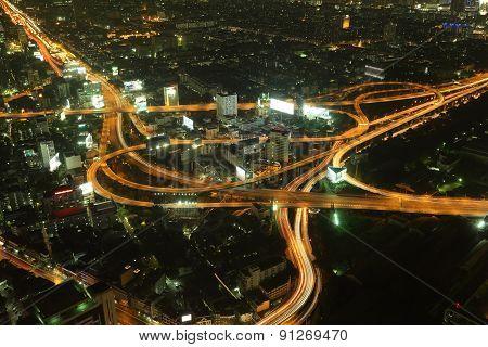 Bangkok Expressway And Highway Top View At Night
