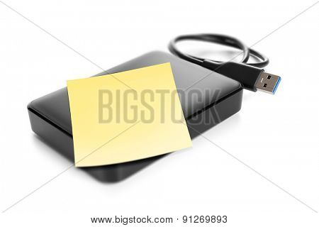 An image of an external hard drive with space for your message