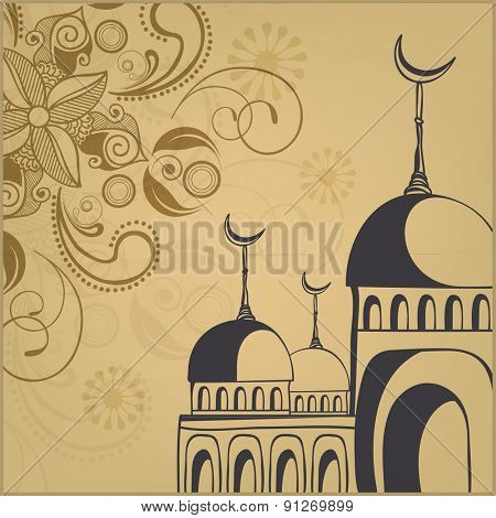 Elegant vintage greeting card decorated with mosque and beautiful floral design for Islamic holy month of prayer, Ramadan Kareem celebration.
