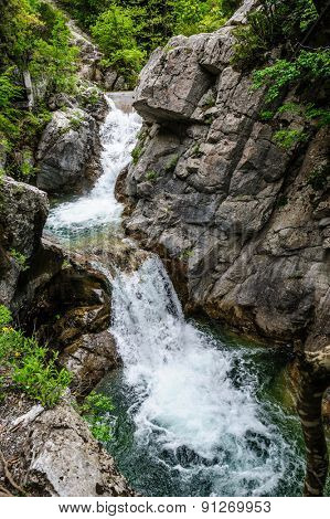 Waterfall in Olympus Mountains, highest in the Greece