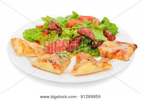 Pizza slices with melted cheese and fresh vegetables salad