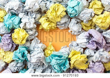 Place For Inscription Among Crumpled Paper Sheets