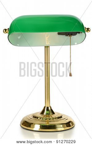 Vintage desk lamp with green glass shade isolated over white background - With clipping path