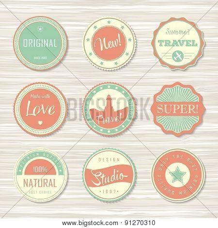 Vintage labels template set: super, original, new, best choice, travel.