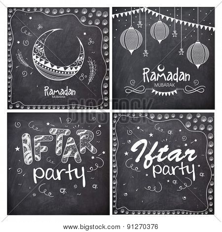 Set of greeting cards decorated with different Islamic elements in chalkboard style for holy month of Muslim community, Ramadan Kareem celebration.