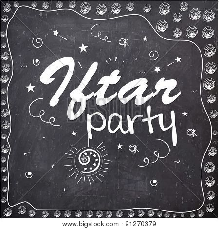 Holy month of Muslim community, Ramadan Kareem Iftar Party celebration invitation card in chalkboard style.