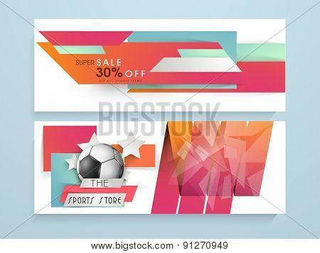 Colorful website header or banner set for sports concept.