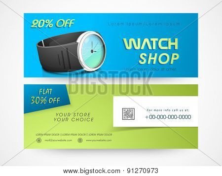 Website header or banner set with discount offer for watch shop.