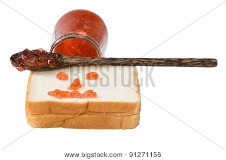 jam on toast close up