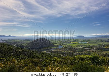 View of Lake Taupo from lookout at south end of lake, North Island, New Zealand