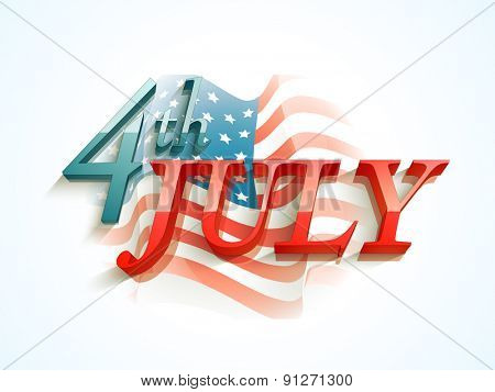 3D glossy text 4th of July on national flag waves background for American Independence Day celebration.