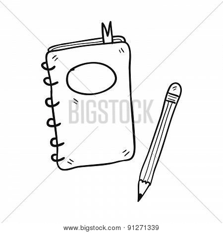 Notebook And Pencil Hand Drawn Vector Illustration