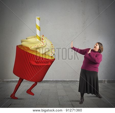 Frightened by giant cupcake