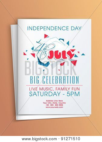 4th of July, American Independence Day party celebration invitation card with date, time and place details.