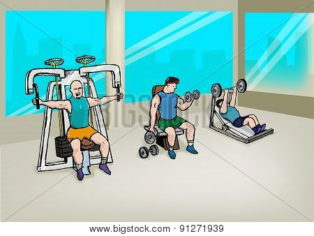 Three Men Exercising in Gym Sketch