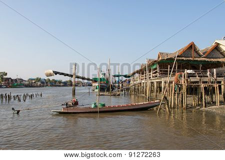 Landscape Of Thailand Riverside Village In Samutsakorn Province Shown Fishery Boat And Bamboo House