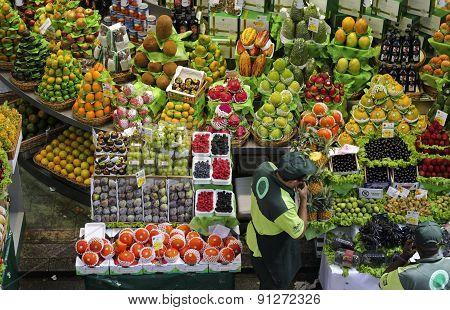 Tropical Fruit Boxes At Sao Paulo Market