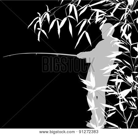 illustration with fisherman silhouette in bamboo isolated on black background