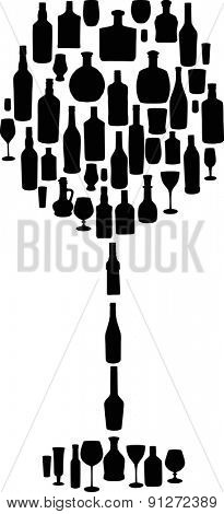 illustration with different glass and bottles on white background