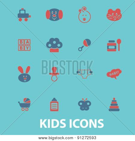 kids icons set, vector