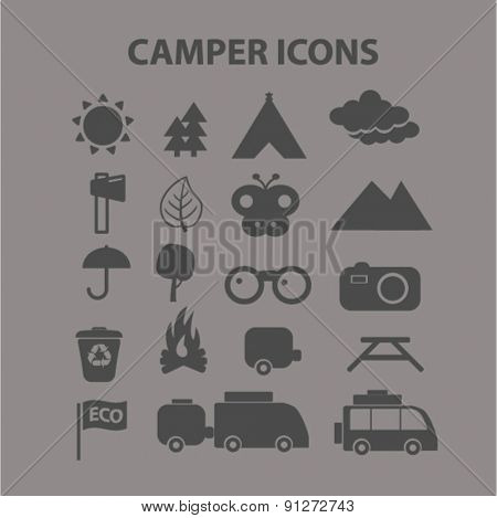 camper, camping icons set, vector
