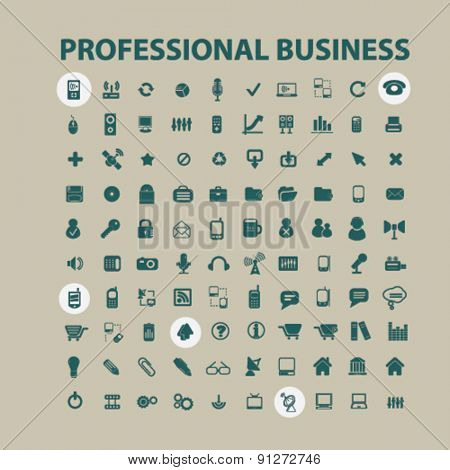professional business icons set, vector