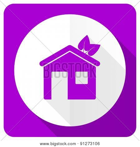 house pink flat icon ecological home symbol
