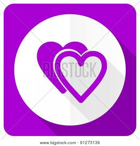 love pink flat icon sign hearts symbol
