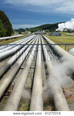 Geothermal power station near the Wairakei Geothermal Field in New Zealand