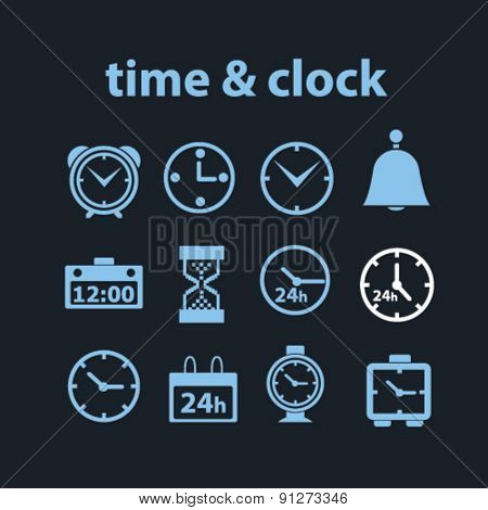 time, clock icons set, vector
